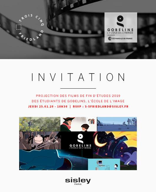 Jeudi 23 janvier à 18h30 - Projection de courts métrages et masterclass avec Gobelins, l'Ecole de l'image - Fondation SISLEY